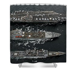 U.s. Navy Ships Conduct A Replenishment Shower Curtain by Stocktrek Images