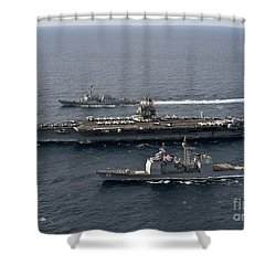 U.s. Navy Ships Transit The Atlantic Shower Curtain by Stocktrek Images