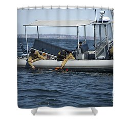 U.s. Sailors Deploy An Unmanned Shower Curtain by Stocktrek Images