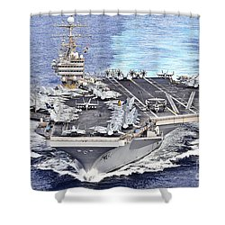 Uss Abraham Lincoln Transits Shower Curtain by Stocktrek Images