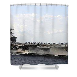 Uss Carl Vinson Underway In The Arabian Shower Curtain by Stocktrek Images