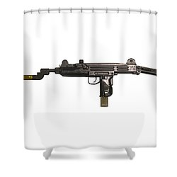 Uzi 9mm Submachine Gun With Attached Shower Curtain by Andrew Chittock