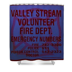 Valley Stream Fire Department In Blue Shower Curtain by Rob Hans