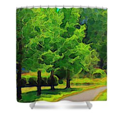 Shower Curtain featuring the mixed media Van Gogh Trees by Terence Morrissey