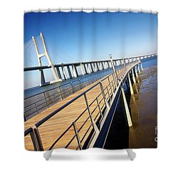 Vasco Da Gama Bridge Shower Curtain by Carlos Caetano