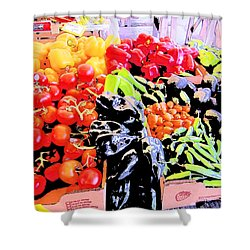 Shower Curtain featuring the photograph Vegetables On Display by Kym Backland