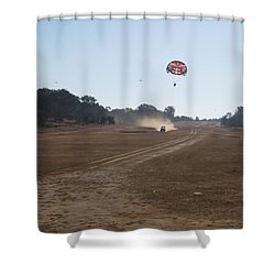 Vehicle Pulling A Couple Doing Tandem Parasailing Shower Curtain by Ashish Agarwal