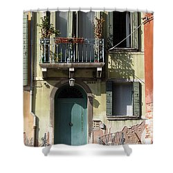 Shower Curtain featuring the photograph Venetian Doorway by Carla Parris