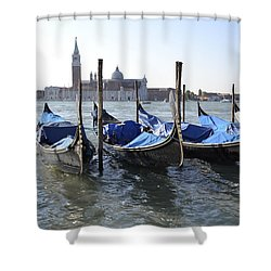 Shower Curtain featuring the photograph Venice Gondolas by Rebecca Margraf