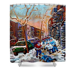 Verdun Montreal Hockey Game Near Winding Staircases And Row Houses Montreal Winter Scene Shower Curtain by Carole Spandau