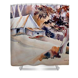 Vermont Sugar Shack Cabin In Winter Shower Curtain by Carole Spandau