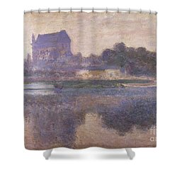 Vernon Church In Fog Shower Curtain by Claude Monet