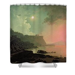 Vesuvius From Posillipo Shower Curtain by Joseph Wright of Derby