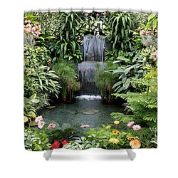 Victorian Garden Waterfall - Digital Art Shower Curtain by Carol Groenen