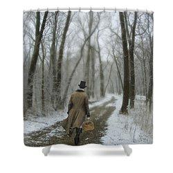 Victorian Gentleman Walking Through Woods Shower Curtain by Jill Battaglia