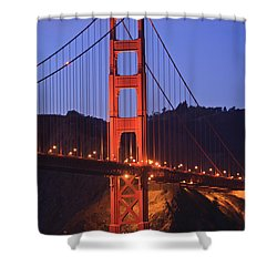 View Of Golden Gate Bridge At Dusk San Shower Curtain by Stuart Westmorland