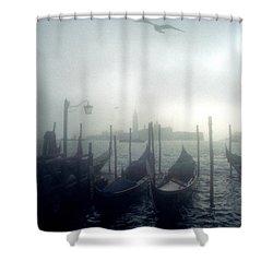 View Of San Giorgio Maggiore From The Piazzetta San Marco In Venice Shower Curtain by Simon Marsden
