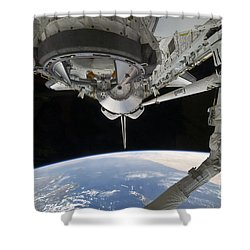 View Of Space Shuttle Discovery Shower Curtain by Stocktrek Images