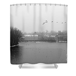 View Of The Mills Shower Curtain