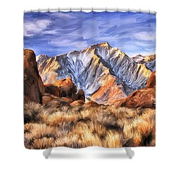 View Of The Sierras Shower Curtain by Dominic Piperata