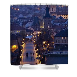 View Over The Charles Bridge Towards Shower Curtain by Axiom Photographic