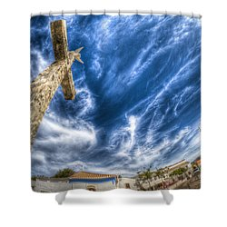 Village Cross Shower Curtain by Nathan Wright