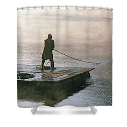 Villager On Raft Crosses Lake Phewa Tal Shower Curtain by Gordon Wiltsie