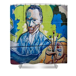Shower Curtain featuring the digital art Vincent On The Wall by Carol Ailles