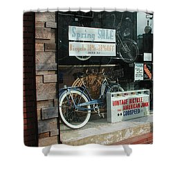 Vintage Bicycle And American Junk  Shower Curtain by Anna Ruzsan