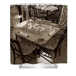 Vintage Domino Table Shower Curtain by David Lee Thompson