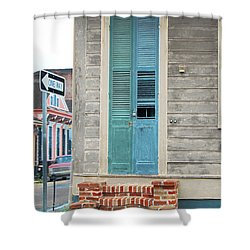 Vintage Dual Color Wooden Door And Brick Stoop French Quarter New Orleans Accented Edges Digital Art Shower Curtain by Shawn O'Brien