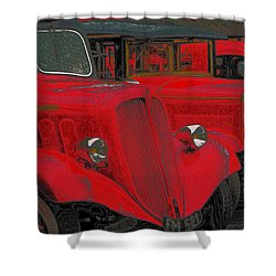Vintage Fire Truck Techno Art Shower Curtain by Tony Grider