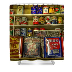 Vintage Garage Oil Cans Shower Curtain by Bob Christopher