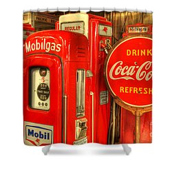 Vintage Gasoline Pumps 2 Shower Curtain by Bob Christopher