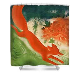 Vintage Hunting In The Ussr Travel Poster Shower Curtain by George Pedro