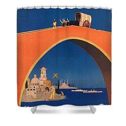 Vintage Mediterranean Travel Poster Shower Curtain by George Pedro