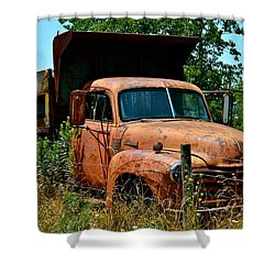 Shower Curtain featuring the photograph Vintage Old Time Truck by Peggy Franz