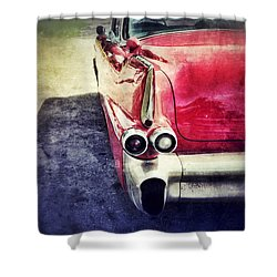 Vintage Red Car Shower Curtain by Jill Battaglia