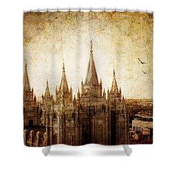 Vintage Slc Temple Shower Curtain by La Rae  Roberts