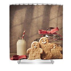 Vintage Style Gingerbread Men Shower Curtain by Amanda Elwell