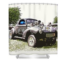 Vintage Willys Gasser Shower Curtain by Steve McKinzie