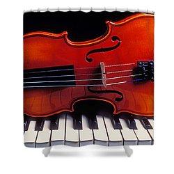 Violin On Piano Keys Shower Curtain by Garry Gay