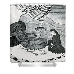 Vishnu And Lakshmi Shower Curtain by Photo Researchers