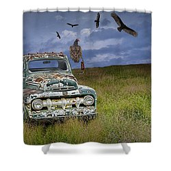 Vultures And The Abandoned Truck Shower Curtain