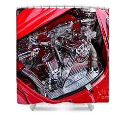 Vw Beetle With Chrome Engine Shower Curtain by Kaye Menner