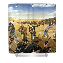 Wagon Box Fight, 1867 Shower Curtain by Granger
