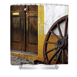 Wagon Wheel Shower Curtain by Carlos Caetano