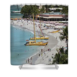 Waikiki Beach And Catamarans Shower Curtain by Peter French