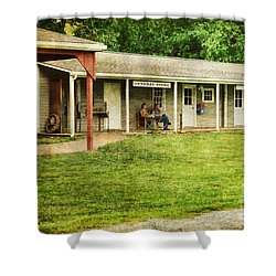 Waiting By The General Store Shower Curtain by Paul Ward