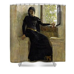 Waiting Shower Curtain by Jean Pierre Laurens